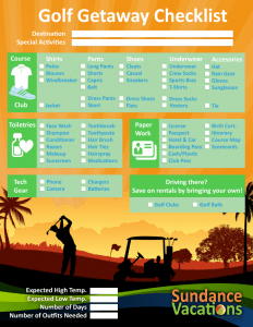 Golf Printable Vacation Checklist Sundance Vacations