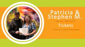 Patricia and Stephen M. tickets sundance-vacations-sweepstakes-giveaway-box