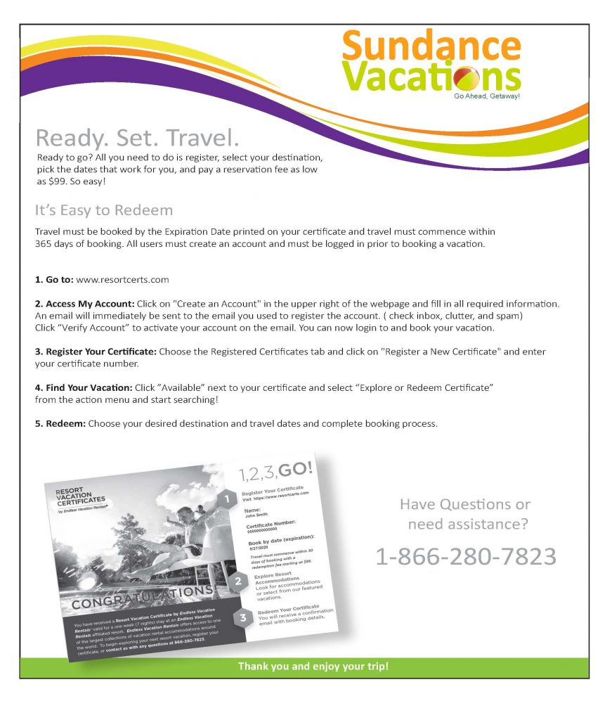 Sundance Vacations Promotional Certificate