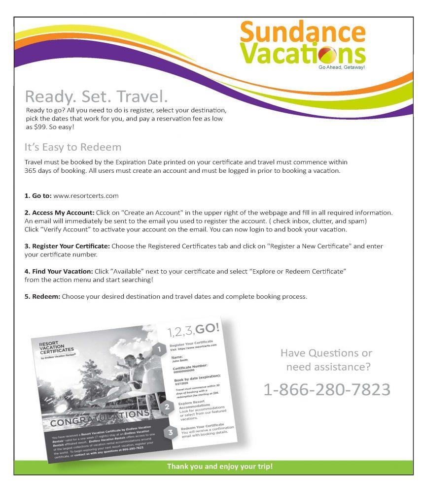 Sundance Vacations Promotional Certificate